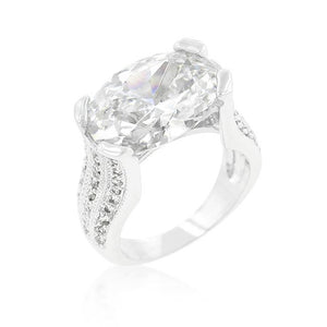 Oval Triplet Cubic Zirconia Ring - R07422R-C01