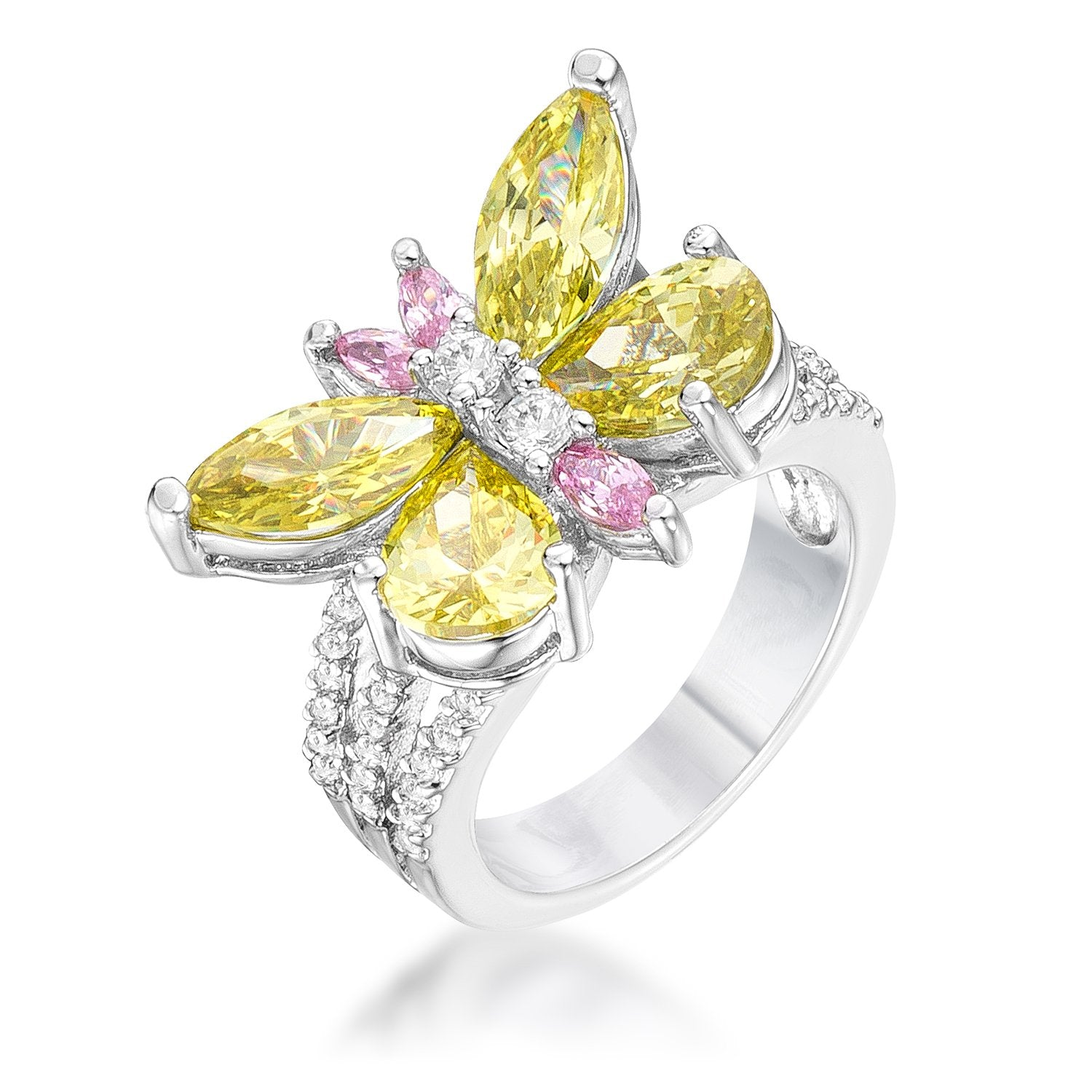 Rhodium Plated Butterfly Cocktail Ring - R07471R-V41