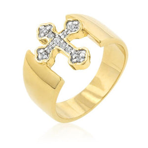 Two-tone Finish Cross Ring - R07544T-C01