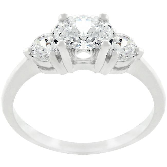 Oval Serenade Triplet Ring in Silvertone Finish - R07597R-C01