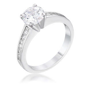 Cubic Zircon Engagement Ring - R07600R-C01