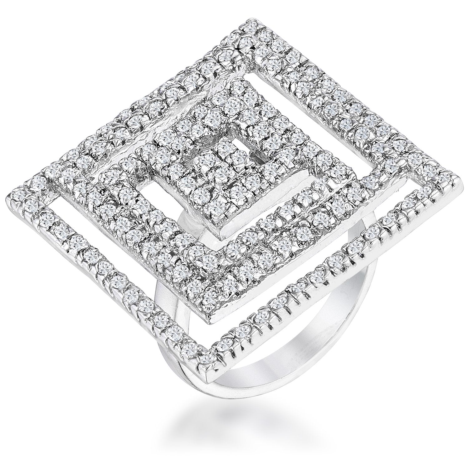 Cubic Zirconia Maze Cocktail Ring - R07608R-C01