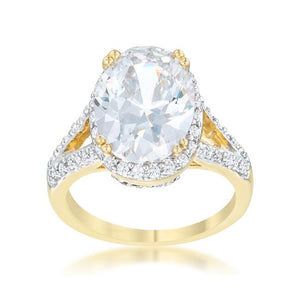Jasmine 5.65ct CZ Two-Tone Engagement Ring - R07685T-V01