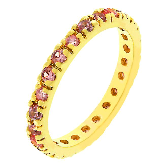 Pink Cubic Zirconia Eternity Ring - R07865G-V12