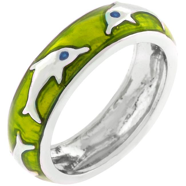 Green Apple Dolphin Enamel Ring - R07873R-V45