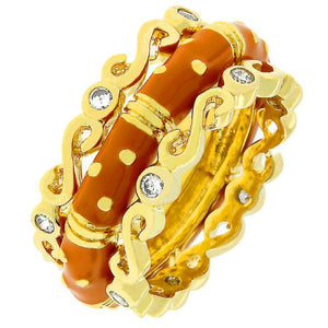 Spotted Orange Enamel Triplet Ring - R07937G-C01