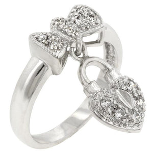 Heart Lock Ribbon Ring - R07946R-C01