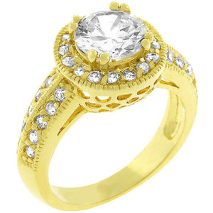 Pave Halo Vintage Crown Ring - R07949G-C01