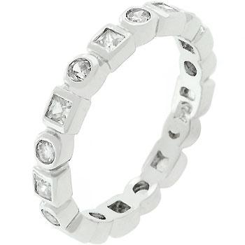 Rhodium Plated Eternity Stackable Band - R08011R-C01