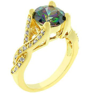 Golden Mystic Cubic Zirconia Ring - R08021G-C19