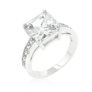 Classic Princess Cut Raised Pave Engagement Ring - R08023R-C01