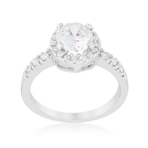 Solitaire Engagement Ring With Pave Halo - R08024R-C01