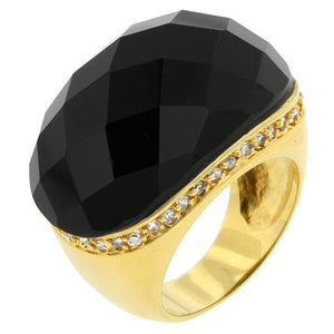Black Beauty Faceted Onyx Ring - R08092G-C52