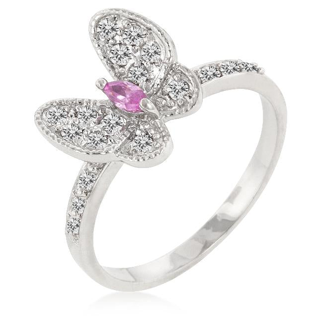 Cubic Zirconia Butterfly Cocktail Ring - R08132R-C12