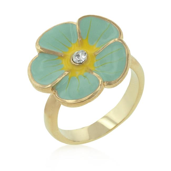 Light Blue Enamel Floral Ring - R08146G-V01