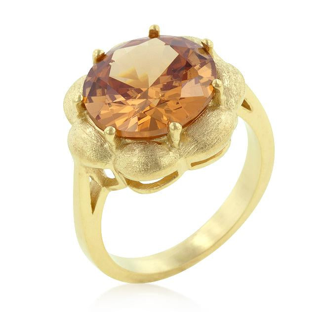 Champagne Floral Cocktail Ring - R08148G-S72