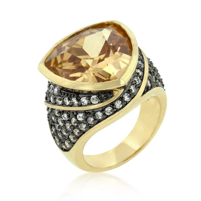 Triangle Cut Two-tone Finish Cocktail Ring - R08154T-C72