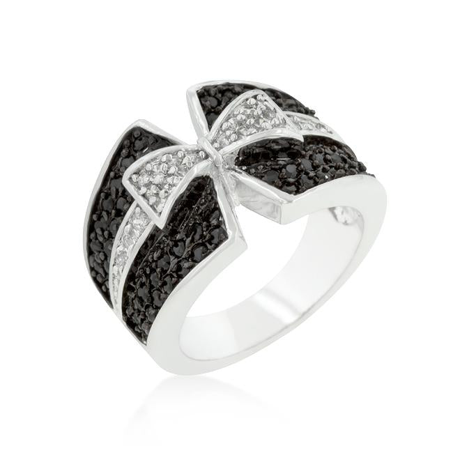Jet Black and Clear Cubic Zirconia Bow Tie Ring - R08163T-C03