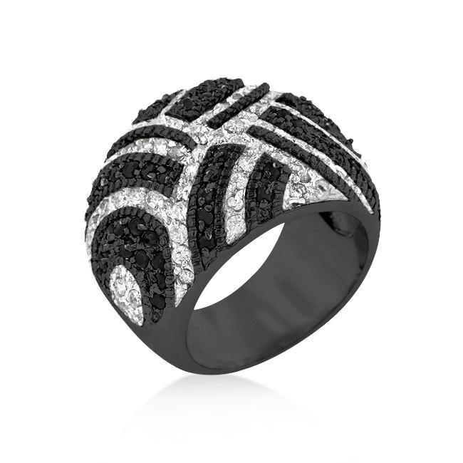 Black And White Cocktail Ring - R08166R-C03