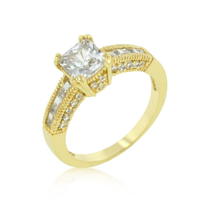 Golden Milgrain Texture Engagement Ring - R08172G-C01