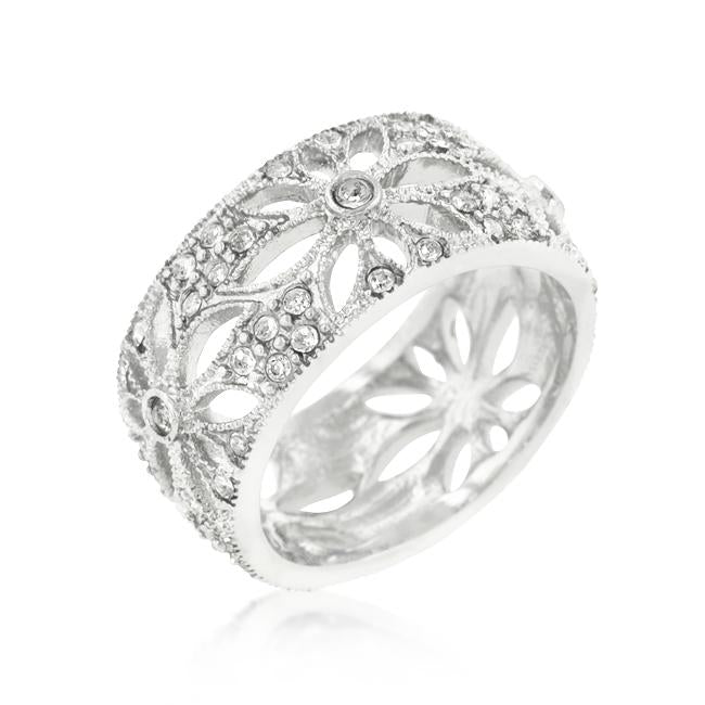 Crystal Floral Filigree Band - R08183R-C02