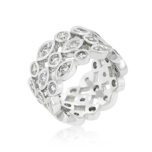 Triple Row Clear Cubic Zirconia Eternity Band - R08187R-C01