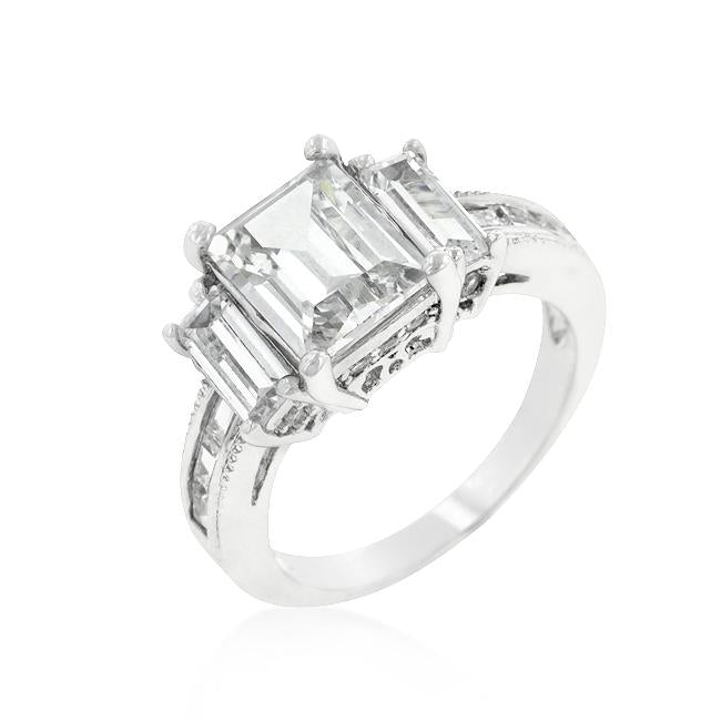 Emerald Cut Triplet Engagement Ring - R08196R-C01