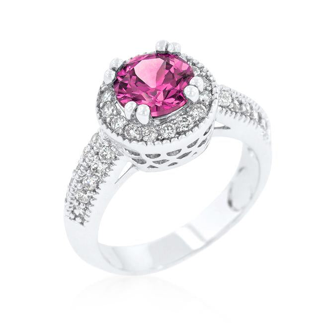 Fuchsia Halo Engagement Ring - R08226R-C15