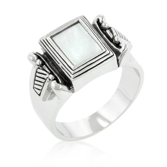 White Cats Eye Cocktail Ring - R08227R-C84