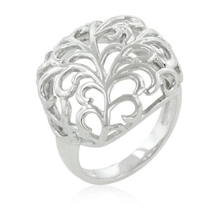 Rhodium Plated Finish Floral Filigree Ring - R08237R-C00