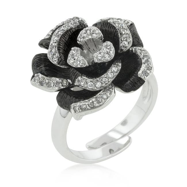 Two-tone Finish Floral Ring with Textured Pedals - R08245T-C01