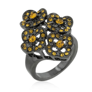 Black Mystique Yellow Crystal Floral Ring - R08246B-V01