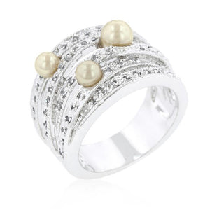 Champagne Pearl Cocktail Ring - R08263R-V01
