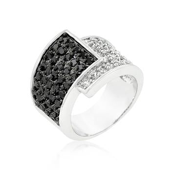 Coiled Black Over White Cocktail Ring - R08267R-C03