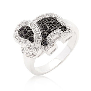 Black and White Cubic Zirconia Elephant Ring - R08284T-C03