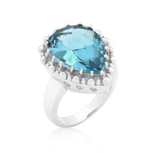 Solitaire Aqua Pear Cut Ring - R08287R-S32