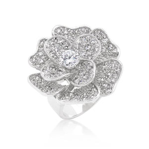 Large Flower Cubic Zirconia Cocktail Ring - R08292R-C01