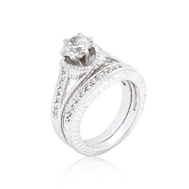 Cubic Zirconia Round Cut Ring Set - R08299R-C01