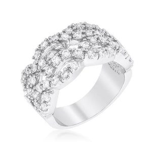 Braided CZ Cocktail Ring - R08321R-C01