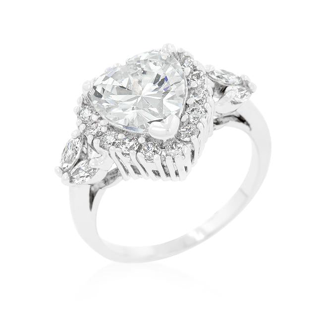 Heart Halo Engagement Ring - R08333R-C01