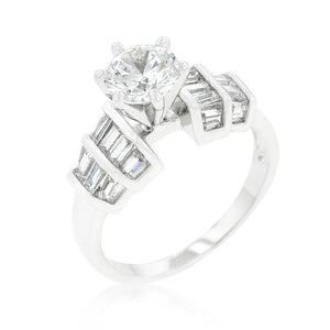 Tapered Baguette Cubic Zirconia Engagement Ring - R08341R-C01