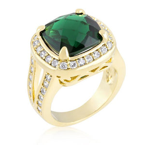 Cushion Cut Emerald Green Cocktail Ring - R08355G-C40