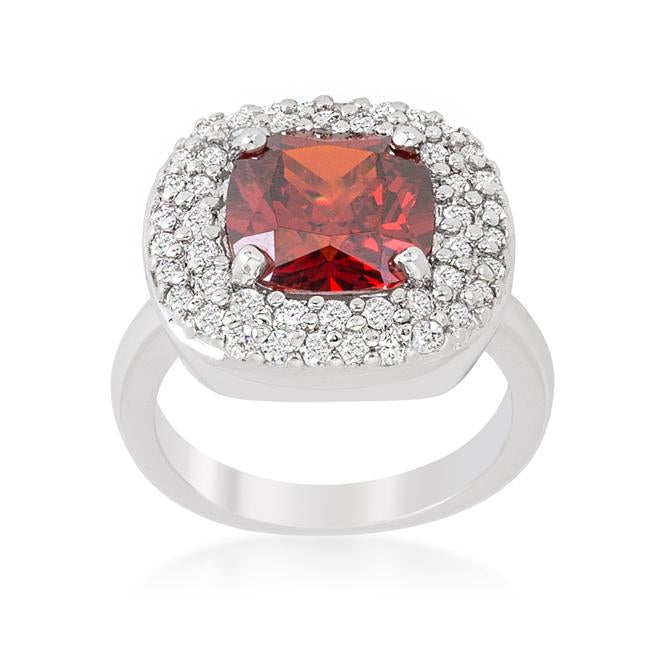 Micropave Red Bridal Cocktail Ring - R08378R-C13