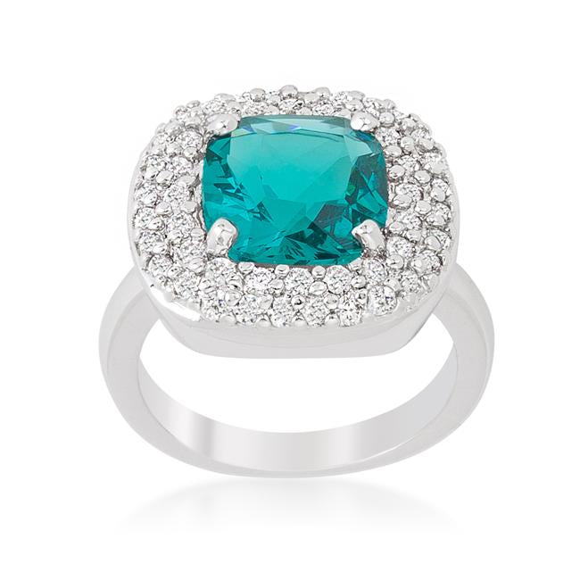 Micropave Aqua Bridal Cocktail Ring - R08378R-C32