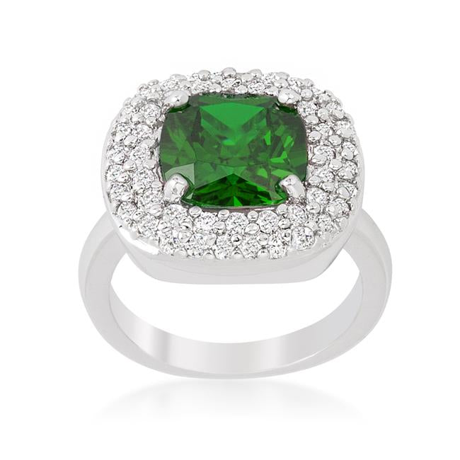 Micropave Green Bridal Cocktail Ring - R08378R-C40
