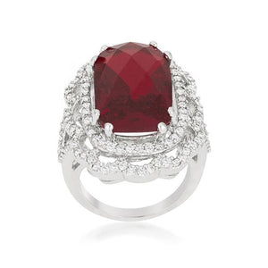 Red Cocktail Crest Ring - R08379R-C13