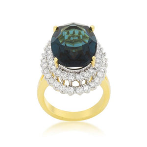 Two-tone Double Halo Cocktail Ring - R08383T-C30
