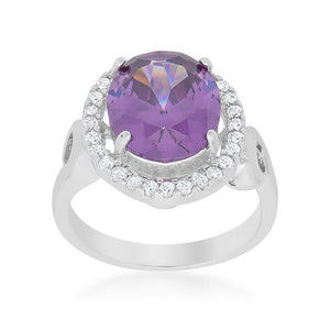 Amethyst Halo Cocktail Ring - R08386R-C20