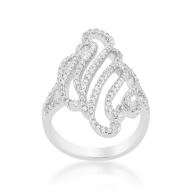 Micro-Pave Swirling Statement Ring - R08413R-C01