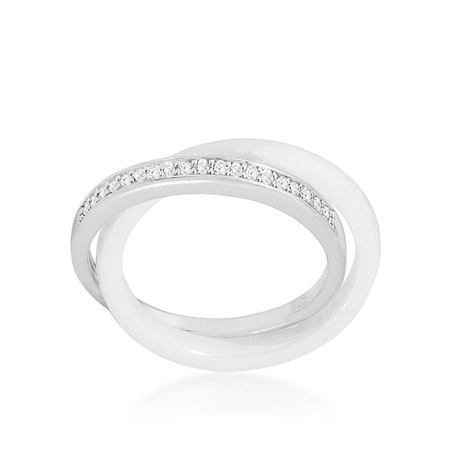 Double-Band Ceramic Eternity Ring - White - R08426RS-V01